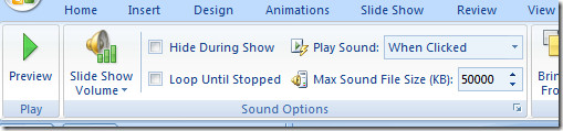 powerpoint sound options