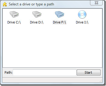 select a drive or type a path