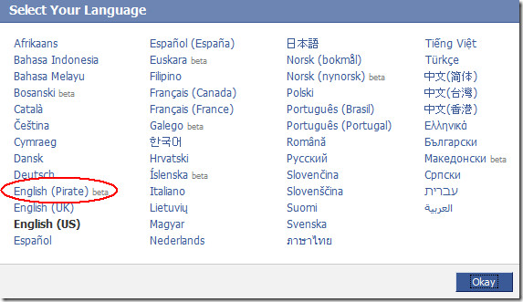 selecting English pirate language