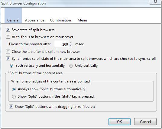 Split Browser Configuration