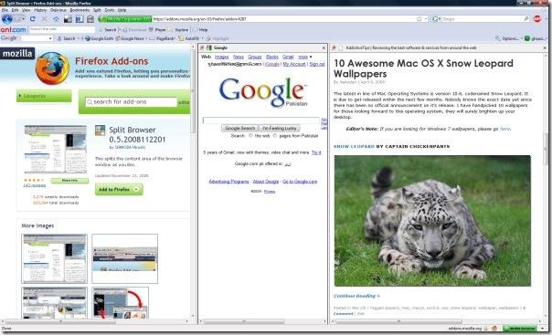 split browser preivew