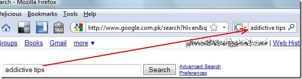 sync search box content