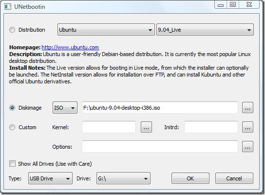 UNetbootin Ubuntu 9.04 from disk