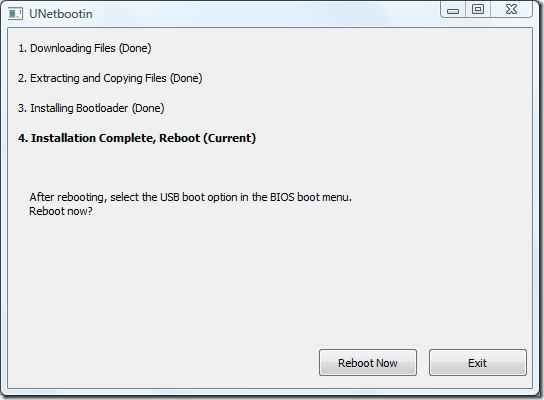 UNetbootin Ubuntu restarting system