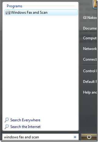 windows fax and scan start search