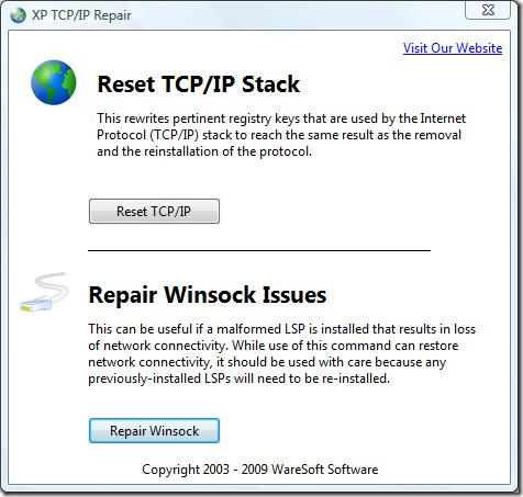 XP TCPIP Repair main