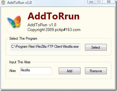 adding an alias to a program for Run Command - AddToRun