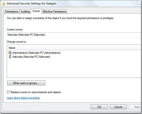 advanced security settings - windows 7