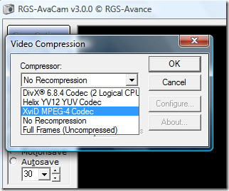 Avacam video compression options