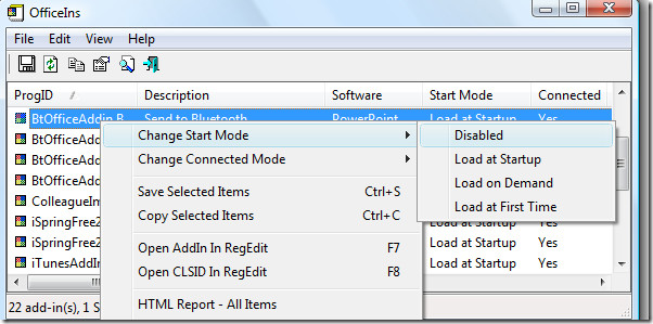 disable add-in office