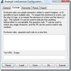 link examiner exclude options