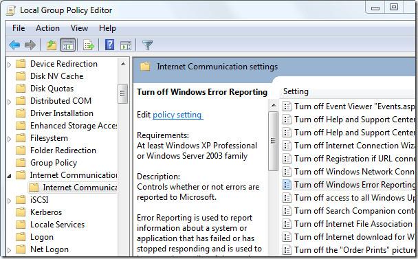 turn of windows error reporting