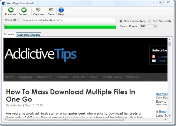 Web Page Thumbnails screenshot