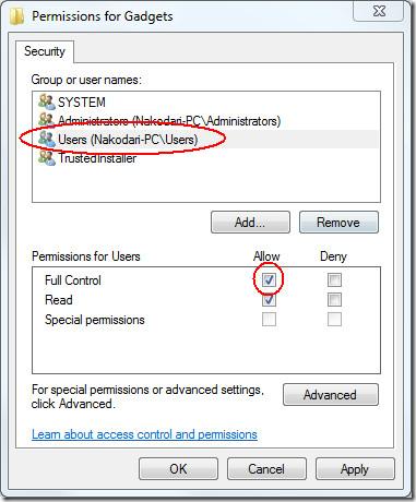 windows 7 gadgets permission allow