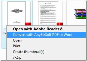convert pdf to word context menu
