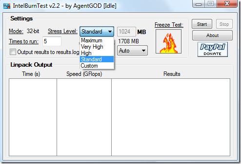 intel cpu burn test - stress level
