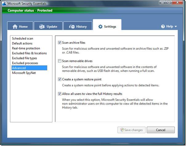 microsoft security essentials - advanced settings