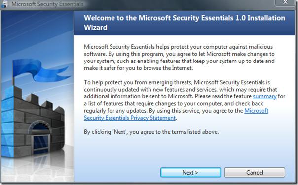 microsoft security essentials - installation