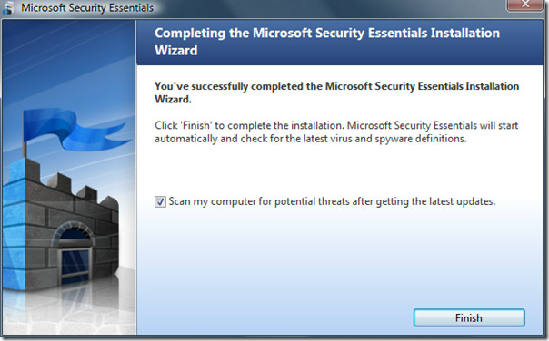 microsoft security essentials - installation complete