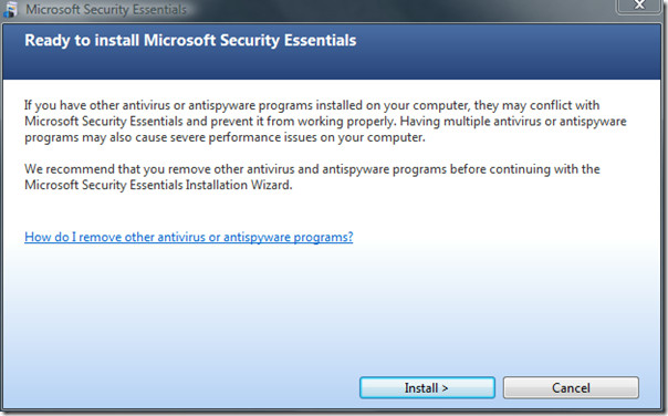 microsoft security essentials - installation ready