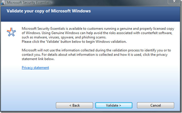 microsoft security essentials - installation validate