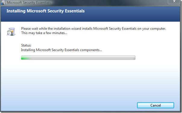 microsoft security essentials - installing