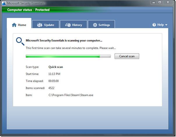 microsoft security essentials - quick scan