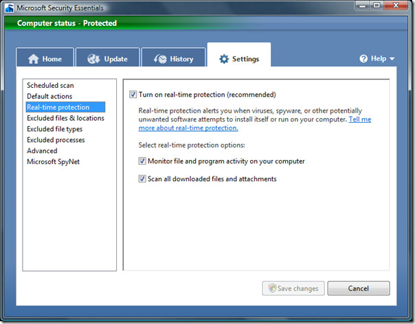 microsoft security essentials - real time protection