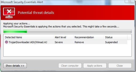 microsoft security essentials - remove trojan