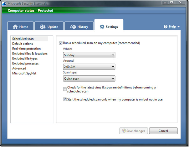 microsoft security essentials - schedule scan