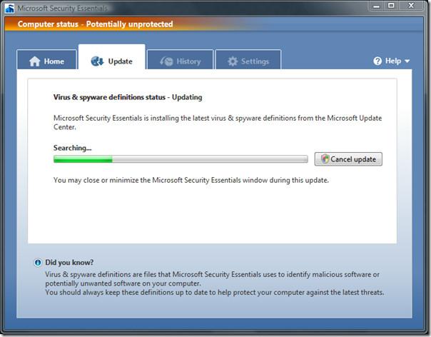 microsoft security essentials - updates
