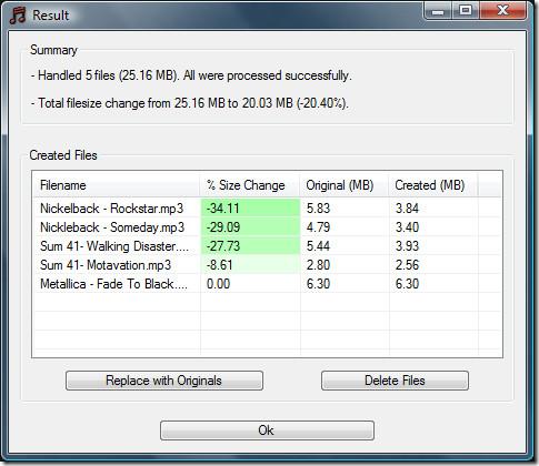 mp3 compression results