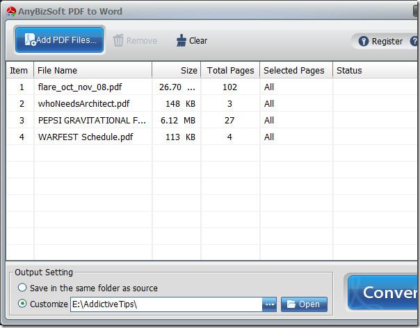 pdf to word main window screenshot