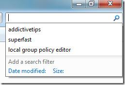 recent searches windows 7