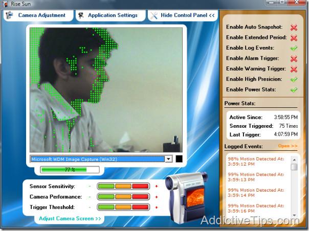 rise sun webcam tracking movement