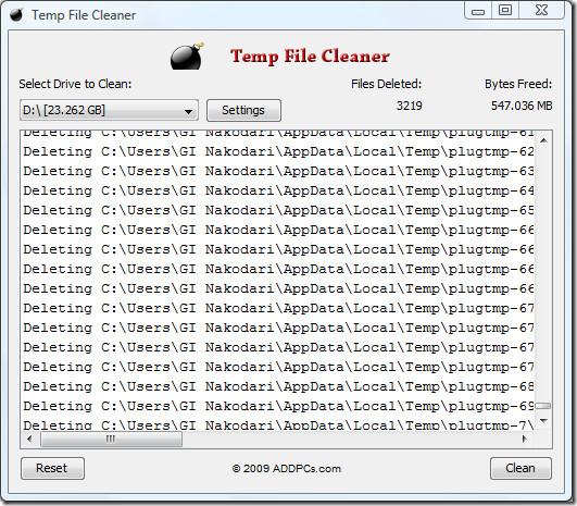 temp file cleaner delete temporary files