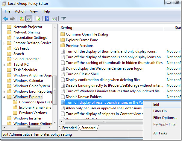 windows explorer local group policy editor