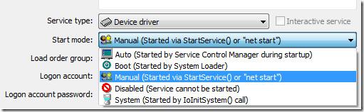 windows service start mode