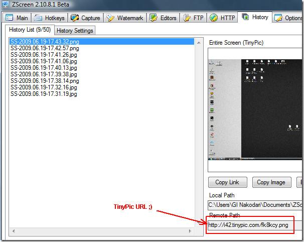zscreen screenshot history