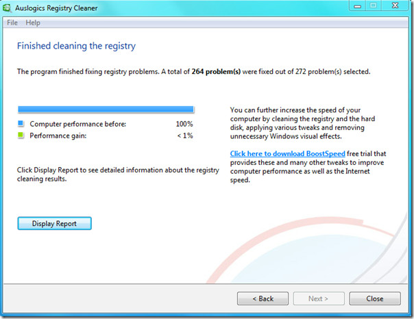 auslogic registry cleaner - diplay report