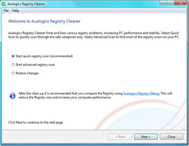 auslogics registry cleaner - welcome screen
