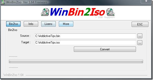 convert bin to iso image format