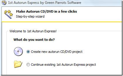 create a new autorun cd dvd project