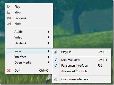 fullscreen interface and minimal view - vlc media player
