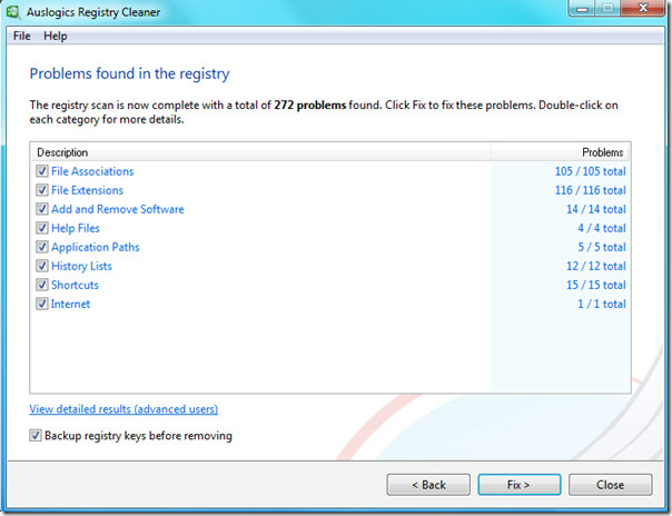 problems found in windows registry