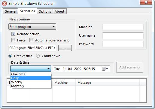 simple shutdown scheduler - scenarios