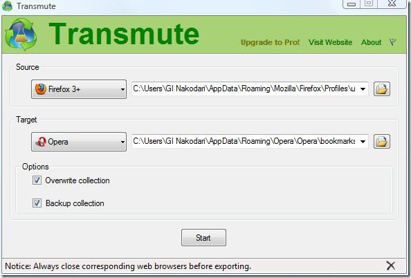 transmute convert bookmarks