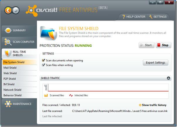avast 5 free antivirus real-time shields