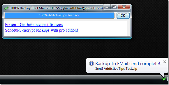 backup to email gmail complete