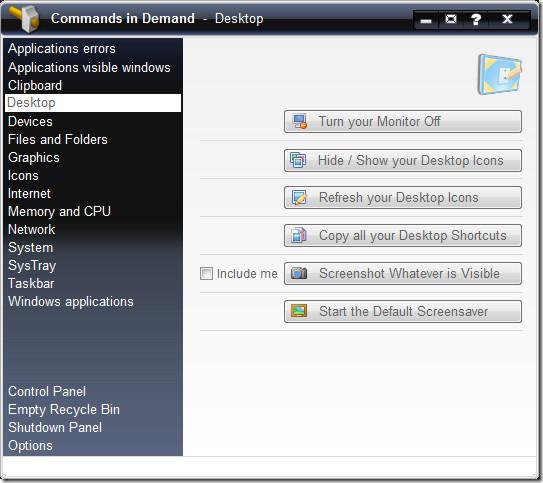 desktop commands